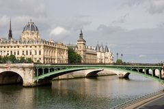 Paris view. Paris bridge over river seine Royalty Free Stock Photo