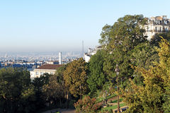 Paris view from butte Montmartre garden Royalty Free Stock Photo