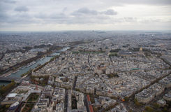 Paris, view of the city in the cloudy evening Stock Photos