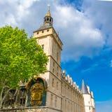 Paris, view of the Conciergerie. On the ile de la Cité, with the ancient clock stock photo