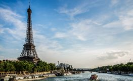Paris. View of the Eiffel Tower over the Seine river Royalty Free Stock Image