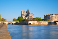 Paris, view over river Seine with Notre-Dame cathedral Royalty Free Stock Image