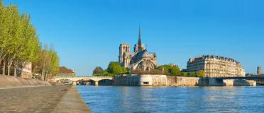 Paris, view over river Seine with Notre-Dame cathedral Stock Photography