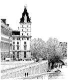 Paris - view from Pont Neuf bridge royalty free illustration