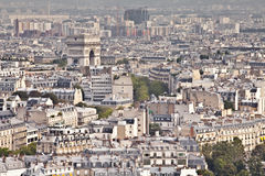 Paris view. The rooftops of Paris from the Eiffel Tower. The Arc de Triomphe can be seen in the background Stock Photo