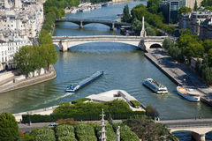 Paris, view of the Seine. Aerial view of the river Seine at the corner of the Ile de la Cite in Paris Stock Images