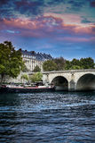 Paris, view of the Seine and the boat,  beautiful sunset sky Royalty Free Stock Images