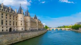 Paris, the Conciergerie. Paris, view of the Seine with the Conciergerie on the ile de la Cité, and the Pont-Neuf royalty free stock photo