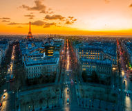 Paris. View of paris at sunset from arc de triumph Stock Images