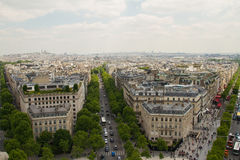Paris view from the top of Arc de Triomphe. View of Paris from the Arc de Triomphe, Frace Royalty Free Stock Photo