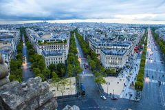 Paris view from the top of the Arc de Triumph, Par. Wide angle view of the Paris skyline from the top of the Arc de Triumph, Paris France Royalty Free Stock Photo