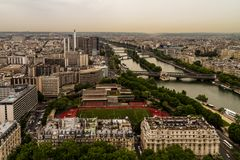 Paris view from top of the eiffel tower stock photo