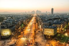 Paris view from Triumphal Arch on Champs Elysees Stock Photo