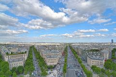 Paris, view from  view from Arc de Triomphe. Royalty Free Stock Images
