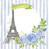 Paris vintage card.Eiffel tower,Watercolor blue  rose,strips. Cute Paris Card with Eiffel tower,watercolor blue roses, strips,green leaves,ribbon.Hand drawn Stock Photos