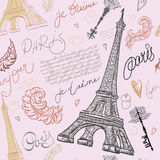 Paris. Vintage seamless pattern with Eiffel Tower, ancient keys, feathers and hand drawn lettering. Royalty Free Stock Images