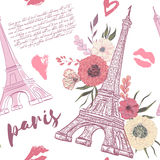 Paris. Vintage seamless pattern with Eiffel Tower. Kisses, hearts and floral elements on white background. Retro hand drawn vector illustration in watercolor Stock Photography