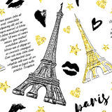 Paris. Vintage seamless pattern with Eiffel Tower. Kisses, hearts and stars with golden glitter foil texture on white background. Retro hand drawn vector Stock Image