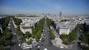 paris Vue de vo?te de Triumph Panorama d'endroit Charles de Gaulle banque de vidéos