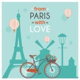 Paris vykort vektor illustrationer