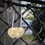 Paris. Wall with locks. Golden castle with the inscription: Paris, I love you. November 2018. Paris. Wall with locks. Golden castle with the inscription: Paris royalty free stock image