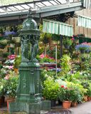 Paris Wallace Fountain at Flower Market Royalty Free Stock Image