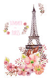 Paris watercolor illustration Stock Photos