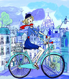 Paris in watercolor style Stock Image
