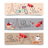 Paris watercolor symbols banners Stock Photography
