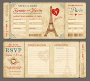 Paris Wedding invitation. Hi detail Vector Grunge Tickets for Wedding Invitations and Save the Date in Paris Stock Images