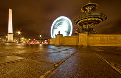 Paris wheel. (la grande roue)with fontane in foreground.located near the louvre Stock Photos