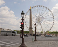 The Paris wheel on the Place de la Concorde. By area moving veh Royalty Free Stock Photography