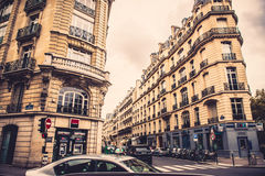 Paris wide street and buildings. France Royalty Free Stock Photos