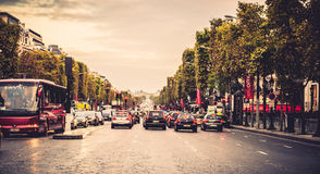 Paris wide street. In France Royalty Free Stock Images