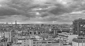 Paris widok lotniczego Budynki i linia horyzontu przy zmierzchem, Francja Zdjęcie Royalty Free