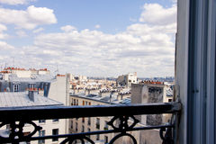 Paris Window Landscape. View out the hotel window in beautiful Paris, France royalty free stock photos