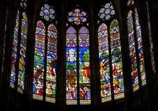 Paris - windowpane of Saint Denis cathedral stock photo