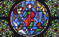 Paris - windowpane from Saint Denis - Jesus Stock Images