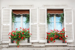 Paris windows. Windows and balconies of old buildings in Paris, France Royalty Free Stock Photography