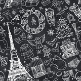 Paris winter,Doodle christmas seamless pattern.Chalk Stock Image