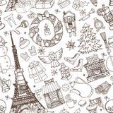 Paris winter,Doodle christmas seamless pattern.Chalk Royalty Free Stock Photo