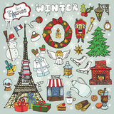 Paris winter,Doodle christmas symbols.Colored Royalty Free Stock Photos