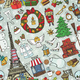 Paris winter,Doodle christmas symbols seamless pattern Royalty Free Stock Photo
