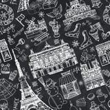 Paris winter,Doodle landmarks seamless pattern.Chalk Royalty Free Stock Photos