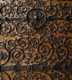 Paris: wonderful wood carved door of Notre Dame Ca Royalty Free Stock Photos