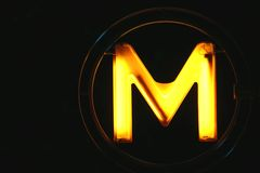 Paris yellow illuminated subway stock images