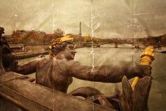Pariser Brücken in der Weinleseart Lizenzfreie Stockfotografie