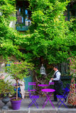 Pariser Café auf Ile de Cite Stockfotografie
