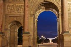 Pariser Grenzsteine nachts Stockbild