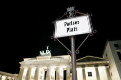 Pariser Platz in Berlin at night Royalty Free Stock Photos